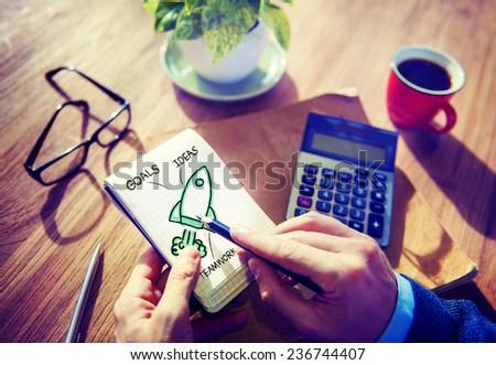 Businessman Writing Planning Goal Success Concept - stock photo