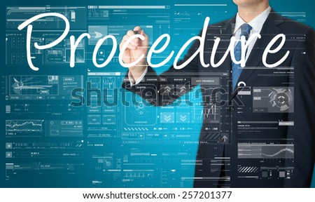 businessman writing procedure and drawing graphs and diagrams - stock photo