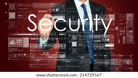businessman writing Security and drawing some sketches on red background - stock photo