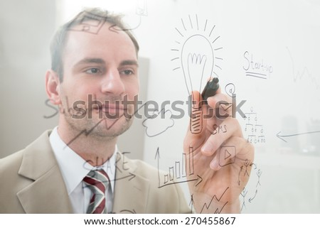 Businessman Writing Start Up Plan On Glass In Office - stock photo