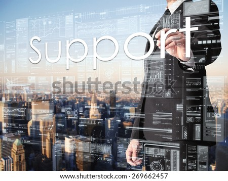 businessman writing Support on transparent board with city in background  - stock photo