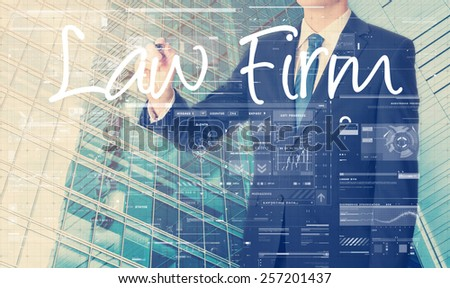 businessman writing technology terminology on virtual screen with business or technology background - law firm - stock photo