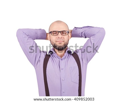 businessman. young man in lilac shirt holding hands behind head and looking while standing isolated on white - stock photo