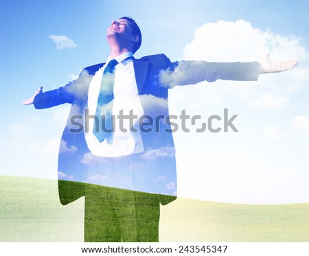 BusinessmanFreedom Getting Away From It All Success Concept - stock photo