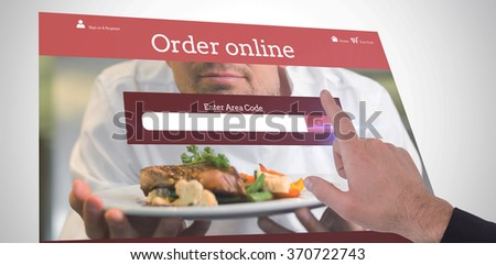 Businessmans hand pointing in suit jacket against food app - stock photo
