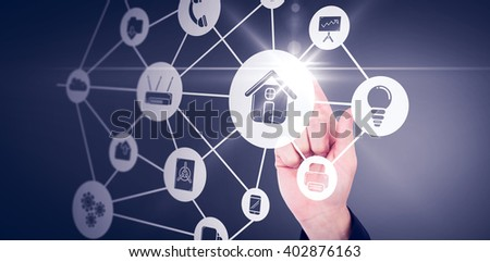 Businessmans hand pointing in suit jacket against smartphone apps icons - stock photo