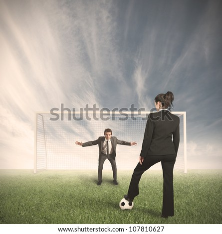 Businessmen and businesswoman compete in the field to protect their business - stock photo