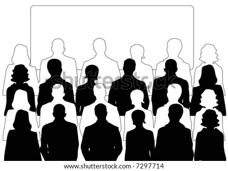 businessmen and businesswomen audience with display screen - stock photo