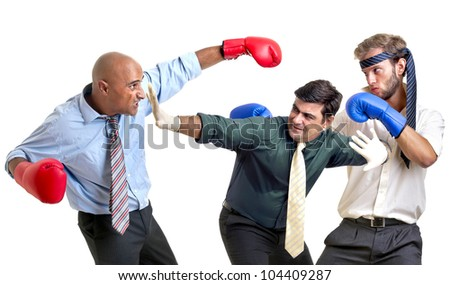 Businessmen boxing isolated in white - stock photo
