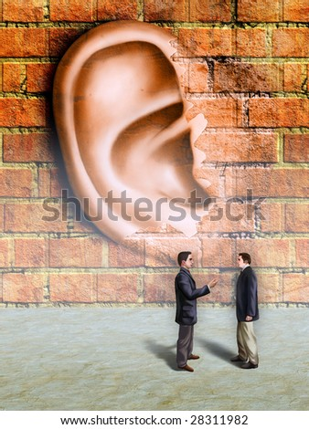 Businessmen conversation being spied by a giant ear materializing in a wall. Digital illustration. - stock photo