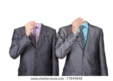 Businessmen covering heads with a cardboard, blank paper in face isolated over white background. Concept idea. - stock photo