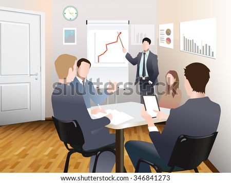 Businessmen discuss sales growth in the office chart Businessman shows on board plot Group employees at work, flet, office workers to discuss at the meeting, isolated, office interior - stock photo