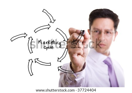 businessmen drawing a marketing diagram on a whiteboard - stock photo