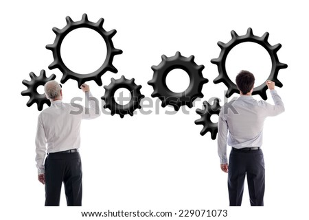 Businessmen drawing gear wheels, isolated on white - stock photo
