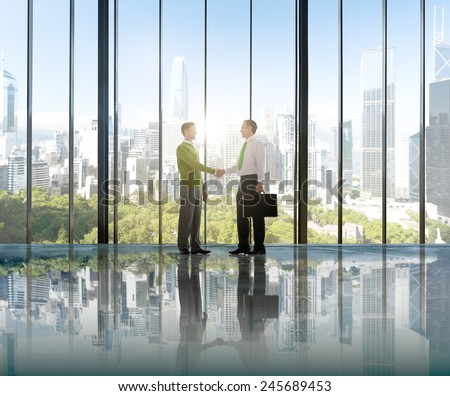 Businessmen Environmental Conservation Concepts Hand Shake Deal Partnership - stock photo