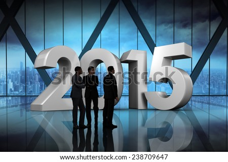 Businessmen looking against room with large window looking on city - stock photo
