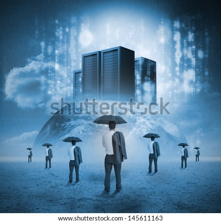 Businessmen looking servers on earth with matrix - stock photo