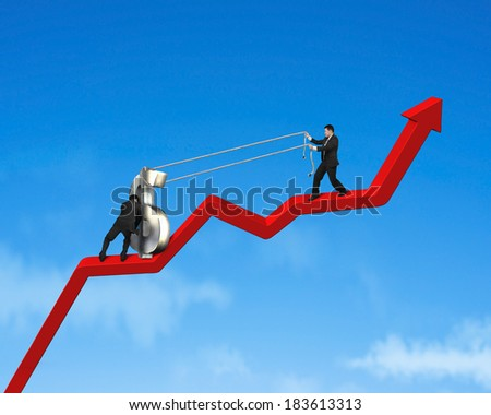 Businessmen moving up 3d money symbol on growing red arrow blue sky background - stock photo