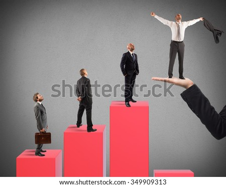 Businessmen on the steps of a statistic - stock photo