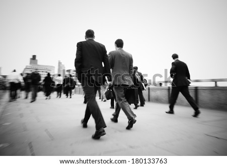 Businessmen On Their Way To Work in London - stock photo
