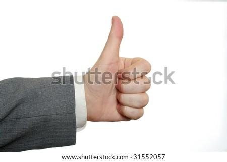 Businessmen's hands thumbs-up - stock photo