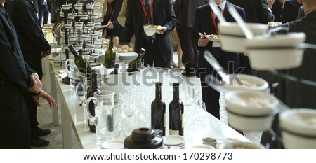 businessmen serving themselves in a meeting event, catering set  - stock photo