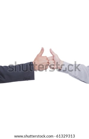 Businessmen shaking hands and making silent signs with body language - stock photo