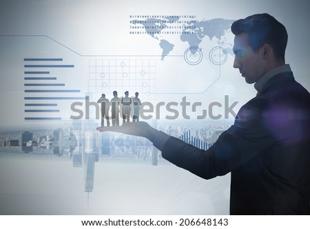 Businessmen standing arms crossed held by giant businessman against room with large window looking on city - stock photo