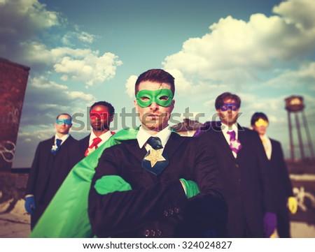 Businessmen Superhero Team Confidence Concept - stock photo