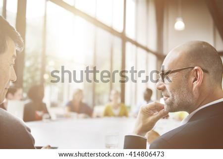 Businessmen Talking Conversation Communication Ideas Concept - stock photo