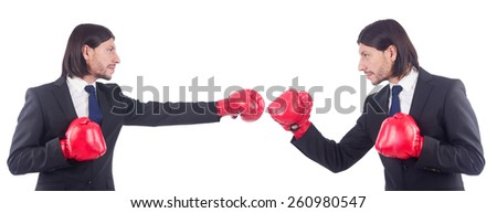 Businessmen with boxing gloves on white - stock photo