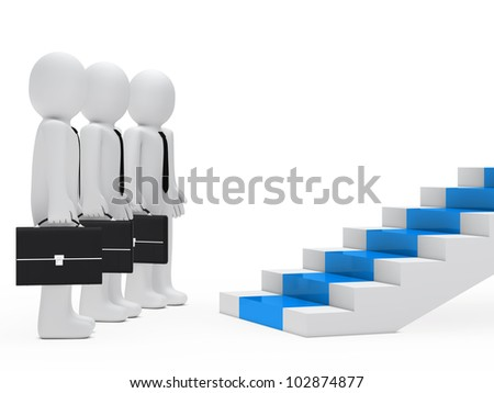 businessmen with briefcase stand before red steps - stock photo