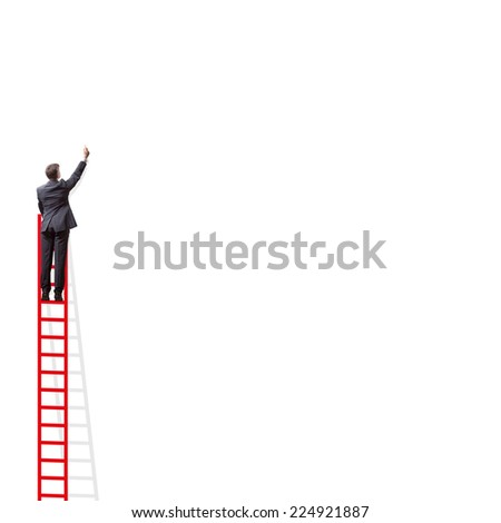 businessmen writing a concept on an empty wall - stock photo
