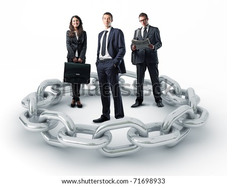 businesspeople and 3d metal chain - stock photo
