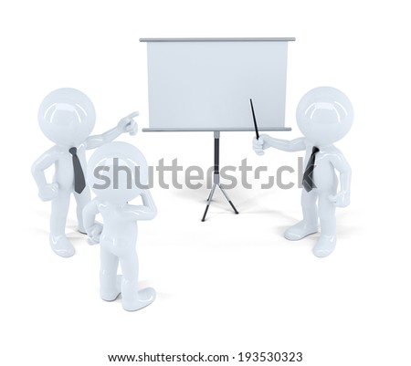 Businesspeople at presentation. Isolated. Contains clipping path - stock photo