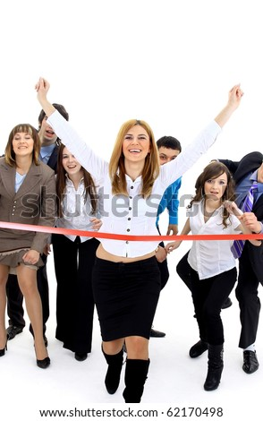 Businesspeople crossing the finish line - stock photo