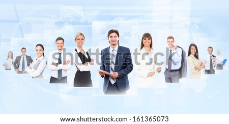 Businesspeople human resources concept, group of business people, businessman and businesswoman portrait over abstract blue background - stock photo