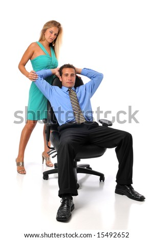 Businesspeople man and woman isolated on white - stock photo