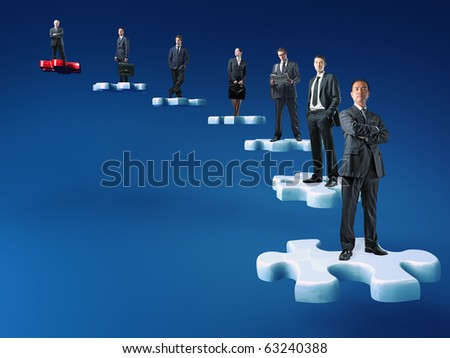 businesspeople on jigsaw stair selective background - stock photo