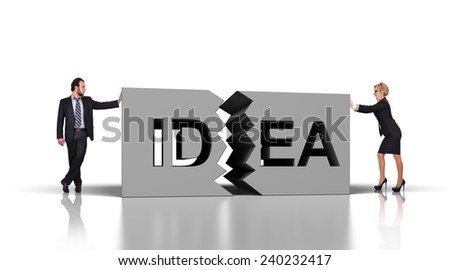businesspeople pushing broken block with idea text - stock photo
