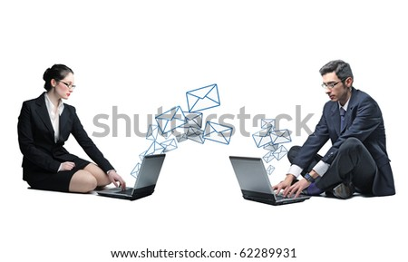 businesspeople send and receive email - stock photo