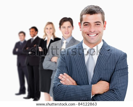 Businesspeople standing in a row against white background - stock photo