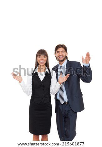businesspeople surprised excited smile business woman with man, businesswoman hold palms hands isolated over white background - stock photo