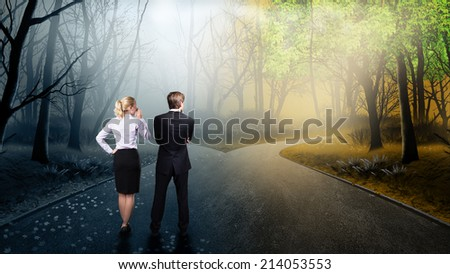 businesspeople thinking about the right way - stock photo