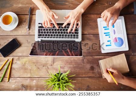 Businesspeople using modern technologies - stock photo