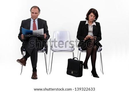 Businesspeople waiting - stock photo