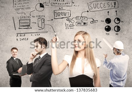 businesspeople, woman drawing business concept - stock photo