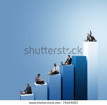 businesspeople work with laptop on 3d chart - stock photo