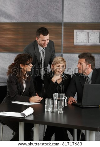 Businesspeople working together on meeting at office.? - stock photo