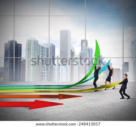 Businessperson create the progress way in office - stock photo